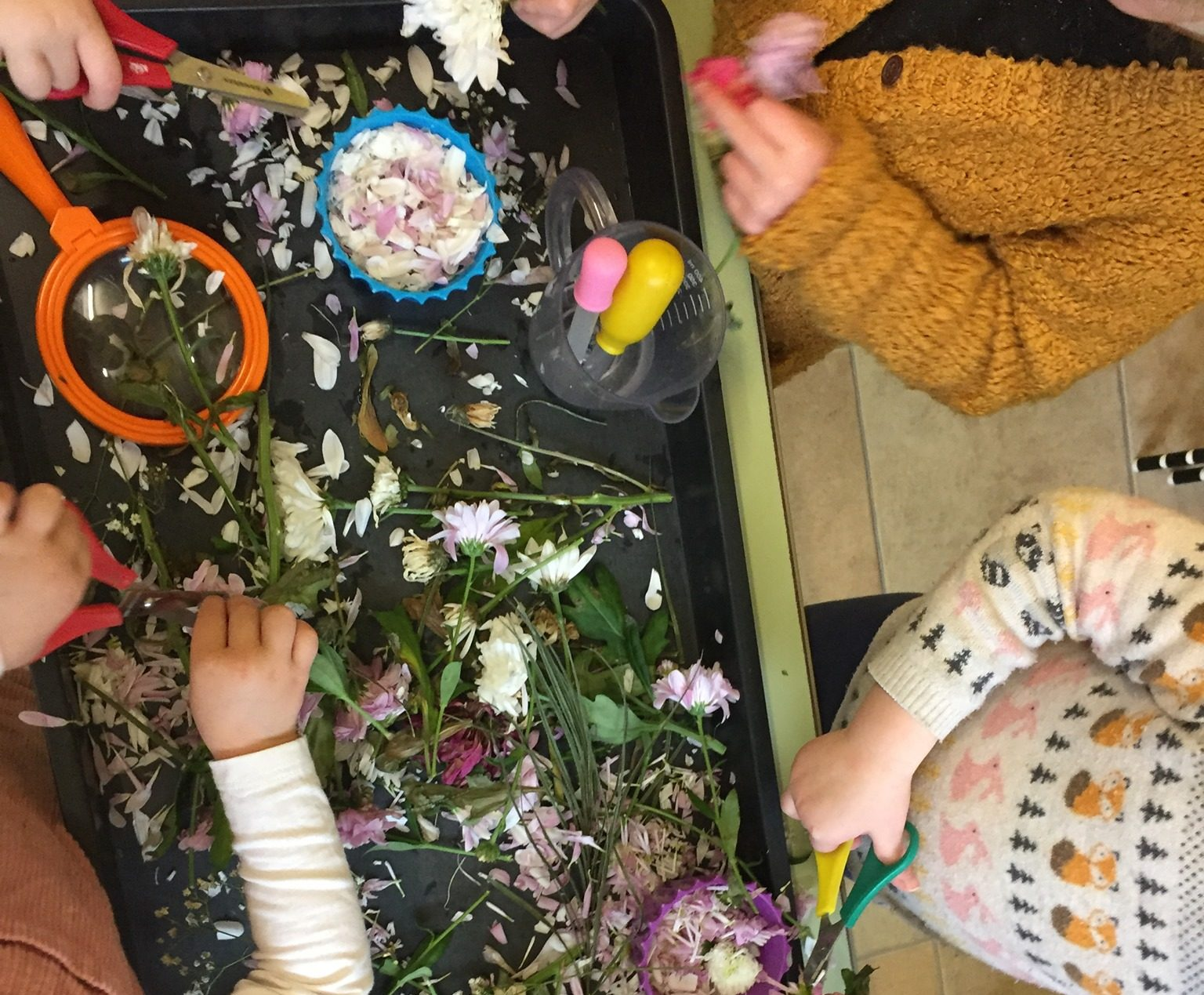 A photo showing the childrens sensory play